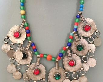 Old Berber Necklace Green/Red Colored Glass & Old Plastic Beads, South Marocco