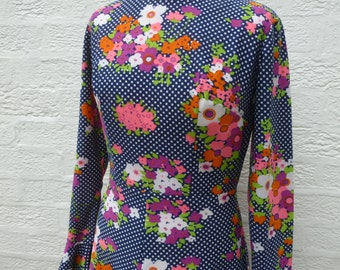 Maxi dress festival 70s vintage clothing floral dress handmade clothes hippie festival fashion boho dress womens ladies gift handmade UK10