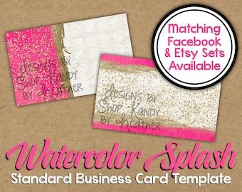 Pink Watercolor Business Card Template - Digital Business Card - Pink Standard Business Card - Glitter Watercolor Business Card