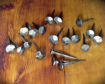 """Five hand forged nails """"M size"""" rosehead, blacksmith made steel spikes, coat hangers, log cabin decor, folk rustic interior, wrought iron"""