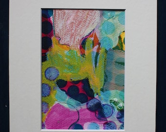 There In a Minute! original 5x7 acrylic oil pastel watercolor abstract painting matted 8x10