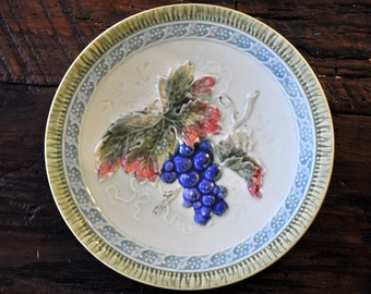 Antique Majolica Plate, Vintage majolica, majolica pottery, Germany, grapes, blues green, #314