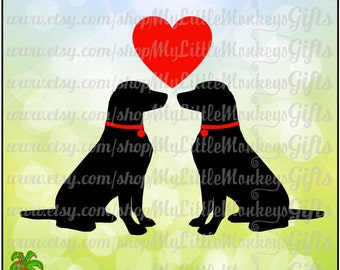 Puppy Silhouettes with Heart Valentine's Day Digital Clip Art & Cut File High Quality 300 dpi Jpeg Png SVG EPS DXF Formats Instant Download