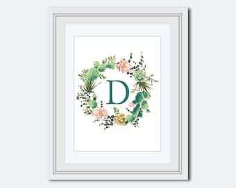 Monogram D - cactus monogram - cactus wreath print - Monogram printable - Monogram Wall Art - diy printable - nursery decor