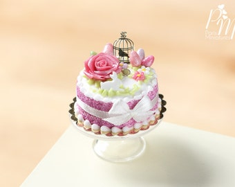 MTO-Beautiful Dark Pink Easter Cake with Rose, Eggs, Rabbit, Golden Birdcage - Miniature Food in 12th Scale for Dollhouse