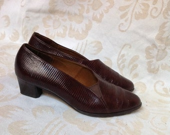 80s Brown Pointy Pumps Leather Heels US 6 EU 36 / 37 UK 4