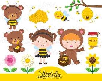 Honey bear clipart - Honey bee clipart - 15043