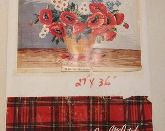 Vintage Jean McIntosh 'Basket of Poppies' Needlepoint Kit/ 1970's Poppies  Kit #M-152