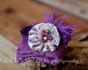 Purple Baby Wrap SET, Baby Photo Prop, Purple Cheesecloth, Baby Headband, Newborn Wrap, Newborn Wrap Set