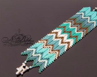 Mint blue green bronze beading bracelet zig zag style. Beaded bracelet