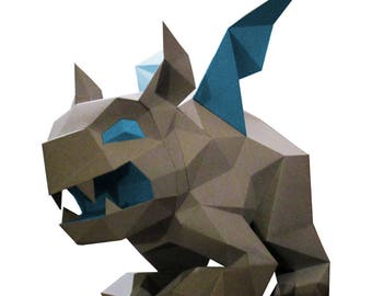 Gargoyle DIY lowpoly papercraft precut and score lines / parts and assembling instructions to build this paper model