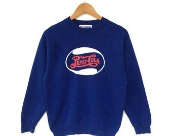 Pepsi Cola Sweatshirt Big Logo Vintage 90s Blue Colour Wear Street Coke Jumper
