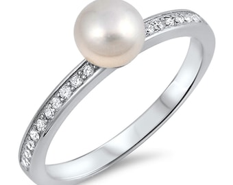 Women 6mm 925 Sterling Silver Freshwater Cultured Pearl CZ Ladies Ring Band(SNRC106069)