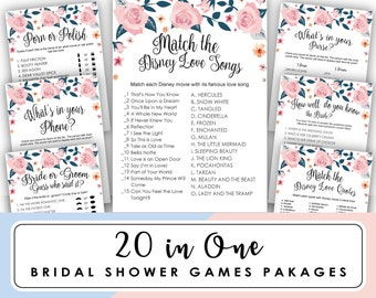 bridal shower games package, bridal shower games printable, Disney love song, Engagement Game, 20 Bridal shower Game, Instant Download