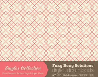 Pink Diamond Geometric Pattern Printable Digital Paper - Instant Download Supply for Scrapbooking & Crafting - Single Sheet Printables