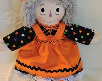 Raggedy Ann Doll, 15 inches, Handmade, Cloth Doll, Halloween Witch