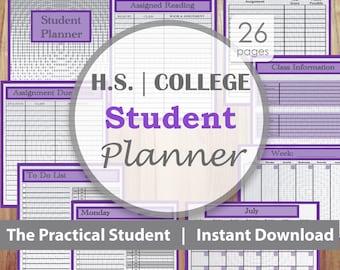 School Planner, College Planner, Student Planner, High School Planner, Purple
