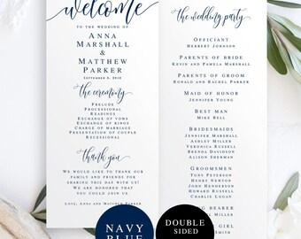 Wedding program instant download navy Nautical wedding program template Navy wedding program Navy wedding printable Navy blue wedding #vm13