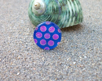 Purple and Pink Dichroic Glass Flower Adjustable Ring