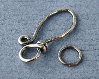 Antiqued Clasp, Sterling Silver Clasp, Handmade Findings, Elfin Petal, 18 gauge