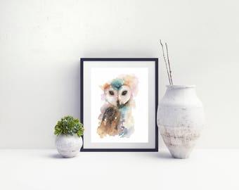 Owl Watercolour Print