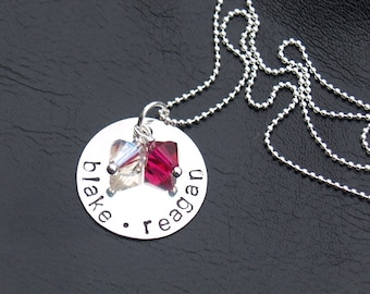 Hand Stamped Birthstone Necklace