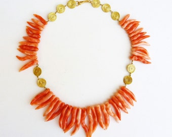 Stunning Coral Necklace, 18K Gold necklace, Red coral necklace - Statement Jewelry