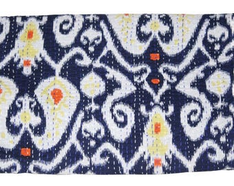 Indian Kantha Throw Handmade kantha Double Bedcover Kantha Quilt Queen Size Blanket Bedding Bedspread Blue Color Ikat Printed