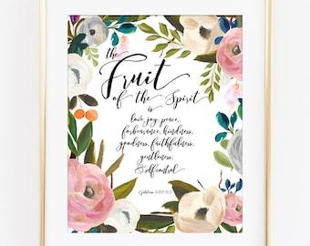 Fruit of the Spirit Wall Art, Bible Verse Art Print, Scripture Print, Calligraphy Print, Watercolor Flowers, Bible Verse Sign, Galatians 5