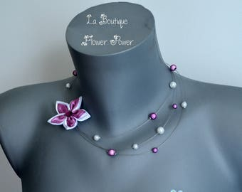 Satin rhinestone Flower necklace purple, lilac and white pearls and magic - Melika