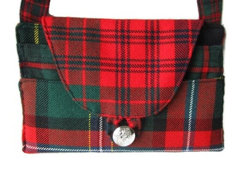 Red Scottish Plaid Tartan crossbody bag, Macdonald tartan, Ross Tartan
