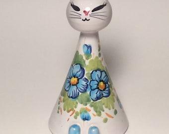 Vintage Mid Century Modern Italian Ceramic Figurine Retro Cat Bank in White Blue and Green Unique Mod Ceramic Cat