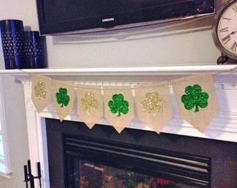 Shamrock Burlap Bunting Banner, St. Patrick's Day Decor, Holiday decor, Wall art, Rustic Holiday Decor, Irish Decor, Four Leaf Clovers