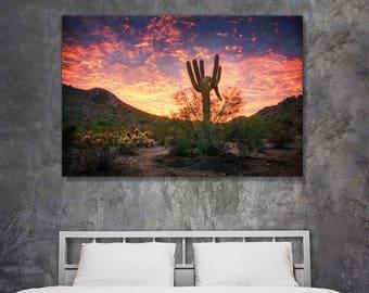 Fine art landscape photography - Arizona Desert Painterly Sunset - original home decor wall art