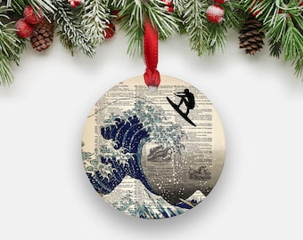 SURFER on Great Wave Ornament, Japanese Wave Print, Nautical Dictionary Art Print, Round Aluminum Ornament, Surfing Gifts Stocking Stuffers