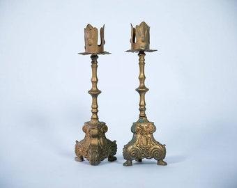 Pair Of Ornate Vintage Candleholders