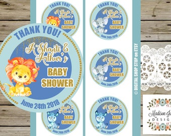 BABY SHOWER Thank You STICKERS, 3 inch Blue and Gold Safari Animals Baby Shower Stickers, Digital Printable, Watercolor Lion Rhino Elephant