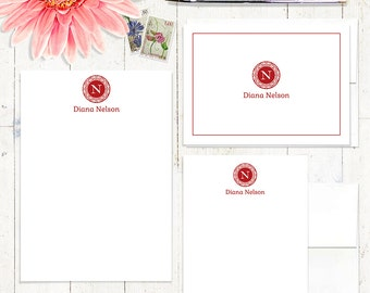 complete personalized stationery set - MEDALLION MONOGRAM - personalized stationary - notepad - note cards - monogrammed