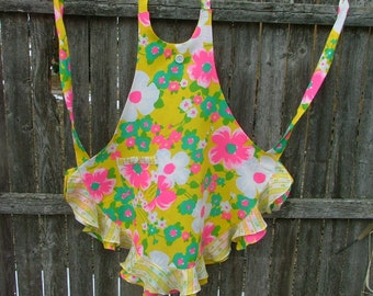 Hot Pink Turquoise  Green and Yellow APRON  Full Length  Flouncy Ruffled