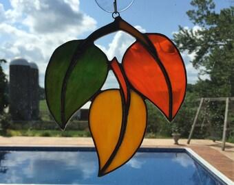 Handmade Stained Glass Autumn Falling Leaves Suncatcher