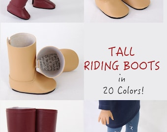 Fits like American Girl Doll Boots, AG Doll Boots, 18 inch Doll, MODERN Tall Riding Boots, CUSTOM in 20 Colors, Made to Order