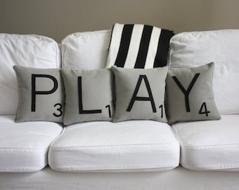 PLAY Scrabble Pillows - Inserts Included // Scrabble Tile Pillows // Giant Scrabble Tiles // Large Scrabble Tiles // Decorative Pillows