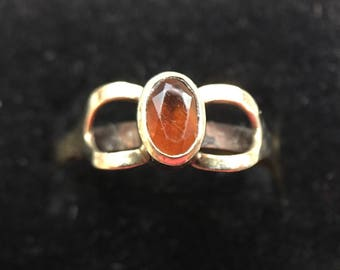 Delicate Antique 9 Karat Gold and Topaz Colored-Stone Ring-As Is.  Free shipping