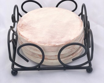 Ceramic Coasters -  Round Set of 4 with Black Stand - Ivory, Brown