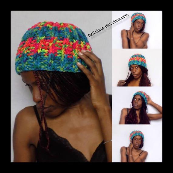 Original unisex Crochet Beanie! RAINBOW! Wool belicious delicious creation one size
