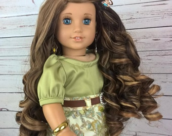 "Custom 10-11"" Doll Wig Fits Most 18"" Dolls ""Hot Toffee Twist""- Heat Safe"