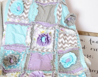 Bird House Baby Girl Rag Quilt Baby Bedding - Turquoise / Gray / Purple Baby Bedding - Floral Crib Bedding for Whimsical Nurserys