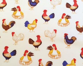 ROOSTER FABRIC By The Yard, Animal, Hens, Chicken Fabric, Country Fabric, 100% Cotton by yard, fat quarter, half yard, yard