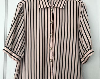 Black and pink striped 80's blouse size small to medium