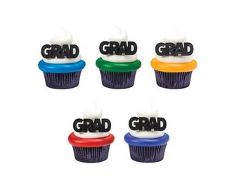Grad Cupcake Topper Rings - 12 count - Baking and Candy Making Party Decorations